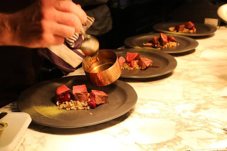 Plating beef dinner
